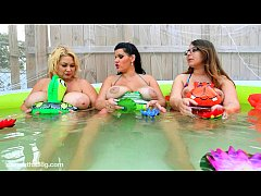 3 Big Boob Babes with Each Other in Pool