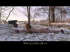 Bondage painful ass punishment in the snow for ...