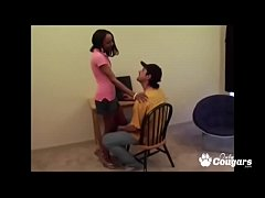 Petite Ebony Teen Kiki Giving A Geeky White Boy...