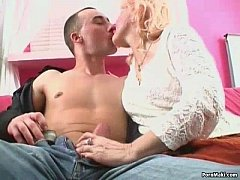 Blonde granny in stockings takes pounding
