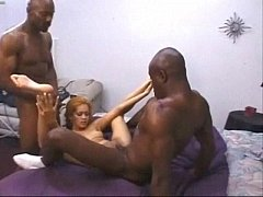 Daisy Marie enjoying two hot black dicks mexica...