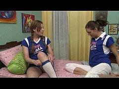 Lesbian cheerleaders in the dorm