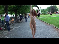 Denisa - Sweet Redhead Babe Naked In Public Streets