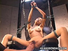 Bdsm treated Asian with sexy lingerie sucking a...