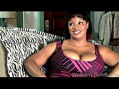 Big tits black BBW imagines you fucking her fat...