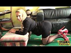 British stockinged sub slut Sasha dominated