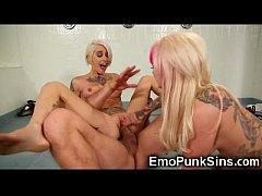 Tattooed Emo Punk Sluts in 3some!