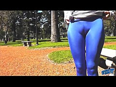 Round Ass Teen In Ultra Tight Shiny Spandex Sho...