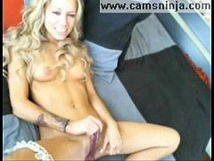 Super hot blonde masturbates and cums on webcam