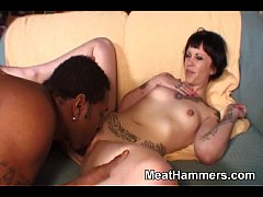 Tattooed slut doing a well hung guy