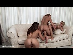 couch trio lesbian threesome with zafira rene and kia from sapphic erotica