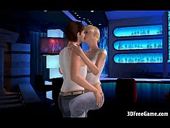 Cartoon 3D blonde big tit babe rides a big hard...