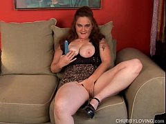 Naughty busty BBW babe fucks her soaking wet pussy