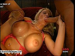 Busty Melanie and her friend clean each other's jizzed faces with their tongues