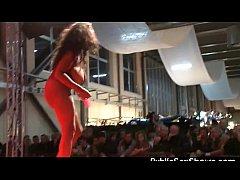 Busty ebony stripper rides a dildo
