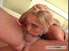 Hot blonde gets rough anal treatment and cum in...