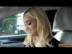 Pretty blonde teen babe Uma Jolie hitchhikes an...