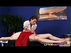 Uniformed masseuse sucks