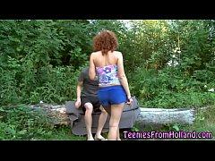 Ginger teen cum outdoor