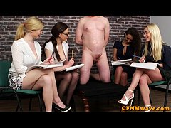 CFNM femdoms humiliating ballgagged dude