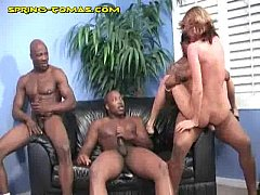 Rough Interracial Threeway For Blonde
