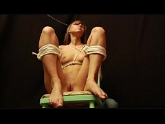 Teen amateur slavegirl Holly tied and clothespin pegged all over in kinky boyfri
