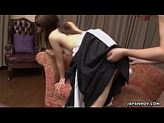 Asian maid made to fuck her master like mad