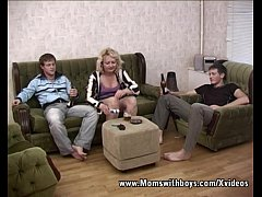 Blond Mama in Threesome With Young Boys