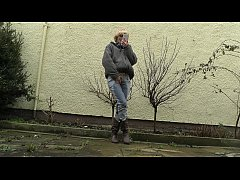 HD desperately waiting with full bladder, jeans...