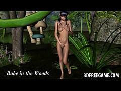 Hot 3D cartoon elf fucked by a mosnter outdoors
