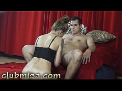 Czech MILF Misa gives sexy blowjob and handjob