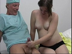 Horny doctor gets a handjob from her pregnant p...