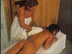 Lesbian massages and sex in the sauna for Vener...