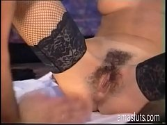 Hot amateur slut in fishnet stockings licked an...