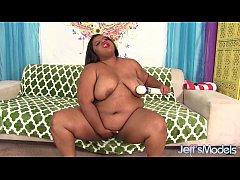 Chubby black girl uses sex toys