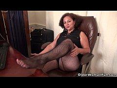 BBW milf Marie Black gets naughty in fishnets