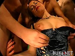 Loads of cream during gang gangbang