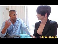 Transsexual bottom jizzed on big boobs
