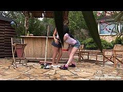 Teen Katja and Kelly toy twats outdoors