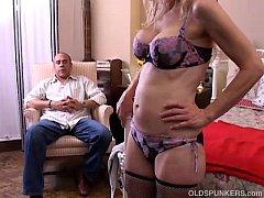 Kinky old spunker gives a sloppy rimjob and get...