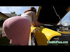 Big-ass gal tries to fix car