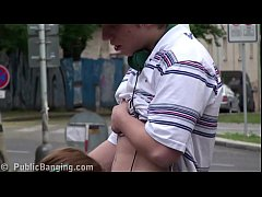 Young cute teen girl Alexis Crystal public street gangbang threesome with 2 guys