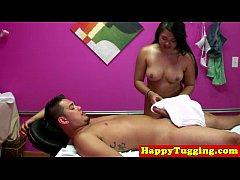 Chubby asian tugging masseuse