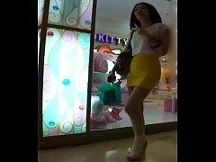 【絲襪美腿】橙色包臀裙纖細長腿美女 - YouTube (7...