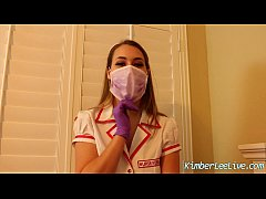 Nurse Kimber Lee Gives Handjob in her Purple La...