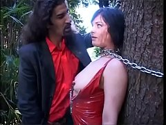Rough man and shemale abusing a cute brunette t...