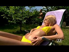 Russian blonde temptress performs a gorgeous double blowjob
