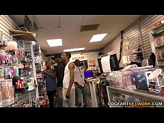 Anal slut Lexi Lowe gets gangbanged in adult video store