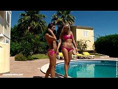Hot tanned lesbians Lena and Kari have hot sex ...