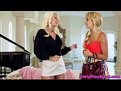 Tanned lesbian beauties get naughty